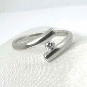 Diamond Bypass 10KW Gold Ring sz 5.5